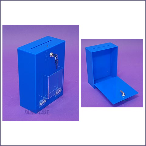 acrylic plexiglass suggestion box blue