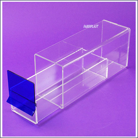 acrylic plexiglas box blue top