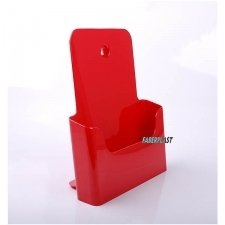 BROCHURE HOLDER ACRILIC POLYSTYRENEBRIGHT RED A4 VERTICAL