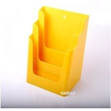 BROCHURE HOLDER ACRILIC POLYSTYRENE BRIGHT YELLOW A4 VERTICAL (3 CASES)