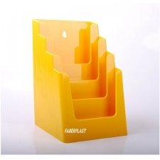BROCHURE HOLDER ACRILIC POLYSTYRENEBRIGHT YELLOW A5 VERTICAL (4 CASES)