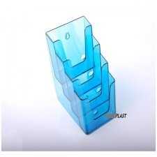 BROCHURE HOLDER ACRILIC POLYSTYRENE TRANSLUCENT BLUE 1/3 A4 VERTICAL (4 CASES)