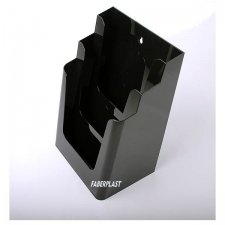 BROCHURE HOLDER ACRILIC POLYSTYRENE BRIGHT BLACK A4 VERTICAL (3 CASES)