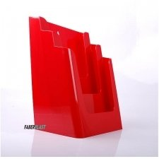 BROCHURE HOLDER ACRILIC POLYSTYRENE BRIGHT RED A4 VERTICAL (3 CASES)