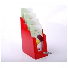BROCHURE HOLDER ACRILIC POLYSTYRENEBRIGHT RED 1/3 A4 VERTICAL (4 CASES)