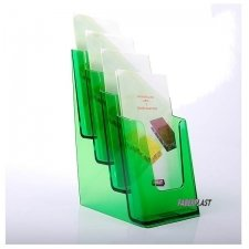 BROCHURE HOLDER ACRILIC POLYSTYRENE BRIGHT GREEN 1/3 A4 VERTICAL (4 CASES)