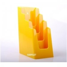 BROCHURE HOLDER ACRILIC POLYSTYRENEBRIGHT YELLOW1/3 A4 VERTICAL (4 CASES)