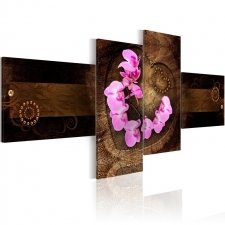 Canvas Print - Orchid and wood