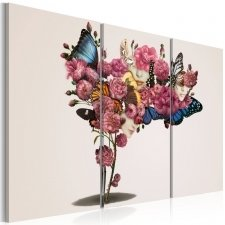 Canvas Print - Butterflies, flowers and carnival