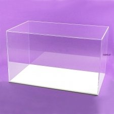 Acrylic perspex-plexiglas display urn. WHITE BASE
