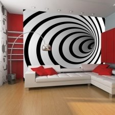 Wallpaper - Black and white 3D tunnel