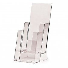 Acrylic brochure holder 1/3 A4 vertical (2 pockets stairs)