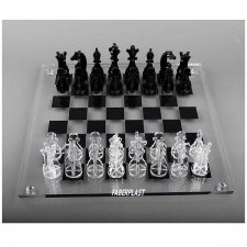 ACRYLIC CHESS PLEXIGLAS (PERSPEX-PMMA) BLACK & TRANSPARENT
