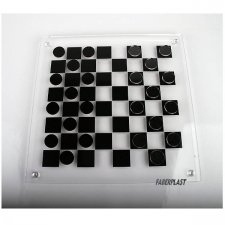 ACRYLIC PLEXIGLAS DRAUGHTS GAME (PERPEX-PMMA) BLACK & TRANSPARENT