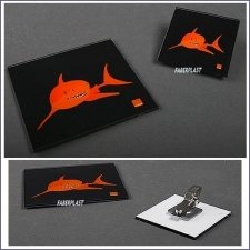 Badge Plexiglas Orange